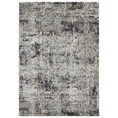 Roman Kajetan Mosaic Modern Rug, 290x200cm, Dark Grey / Ivory