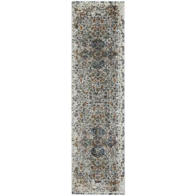 Roman Medallion Mosaic Modern Runner Rug, 400x80cm