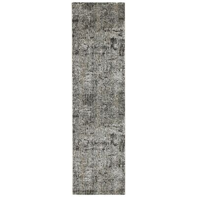 Roman Kajetan Mosaic Modern Runner Rug, 300x80cm, Dark Grey / Ivory