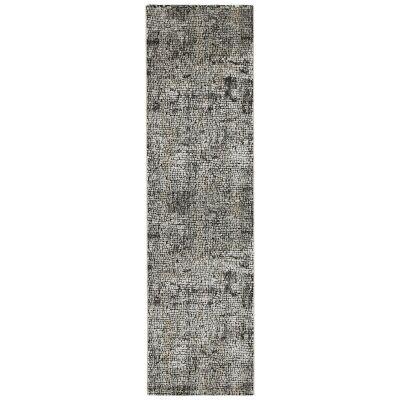 Roman Kajetan Mosaic Modern Runner Rug, 400x80cm, Dark Grey / Ivory