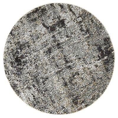 Roman Kajetan Mosaic Modern Round Rug, 200cm, Dark Grey