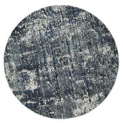 Roman Kajetan Mosaic Modern Round Rug, 240cm, Grey / Blue