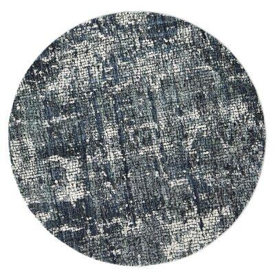 Roman Kajetan Mosaic Modern Round Rug, 160cm, Grey / Blue