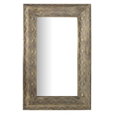 Aladdin Filigree Metal Frame Rectangular Wall Mirror, 85cm