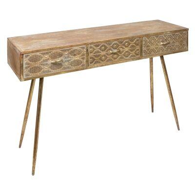 Aladdin Filigree Metal 3 Drawer Console Table, 120cm