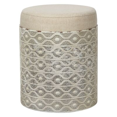Ingrid Filigree Metal Stool with Cushion