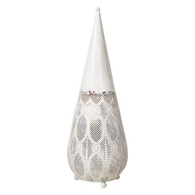 Aladdin Metal Filigree Floor Lantern, Large, Rustic White