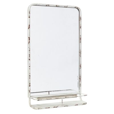 Hoover Hoover Industrial Iron Frame Leaner Wall Mirror with Shelf, 80cm, Rustic White