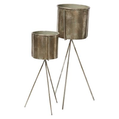 Emmet 2 Piece Metal Planter on Stand Set