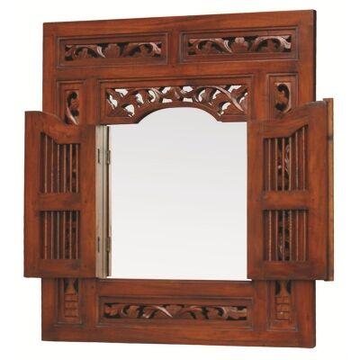 Prison Mahogany Timber Frame Window Wall Mirror, 130cm, Mahogany