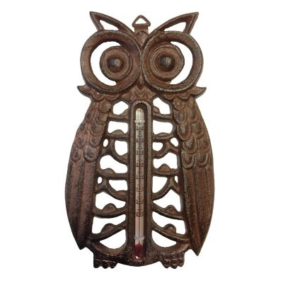 Owl Cast Iron Thermometer - Antique Rust