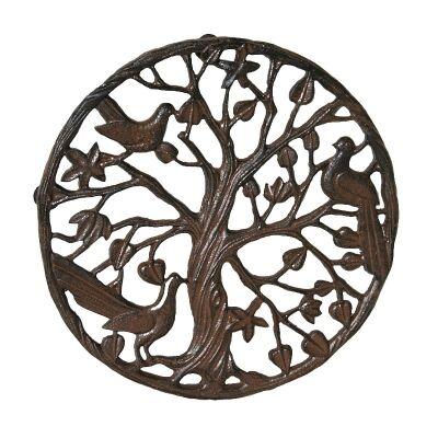 Nightingale Cast Iron Round Garden Doormat / Wall Art - Antique Rust