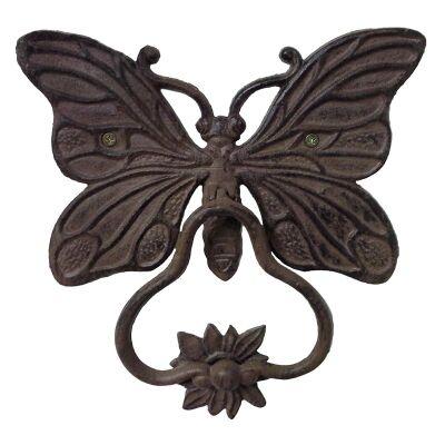 Butterfly Cast Iron Door Knocker - Antique Rust