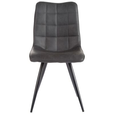Firat Faux Leather Dining Chair, Antique Black