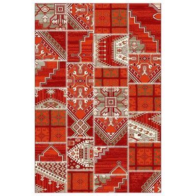 Rayen Patch Belgian Made Modern Rug, 225x160cm, Red
