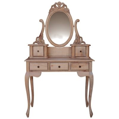 Champier Hand Crafted Mahogany Dressing Table with Stool, Weathered Oak