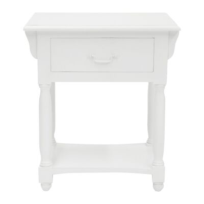 Souvigny Hand Crafted Mahogany Nightstand, White