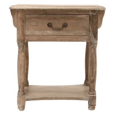 Souvigny Hand Crafted Mahogany Nightstand, Weathered Oak