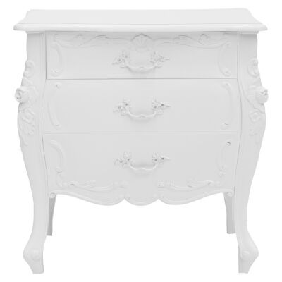 Riom Hand Crafted Mahogany Bedside Table, White