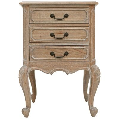 Chamonix Hand Crafted Mahogany Bedside Table, Weathered Oak