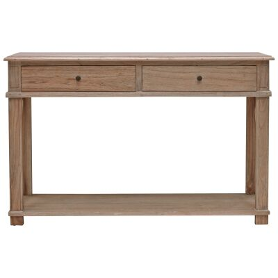 Belley Hand Crafted Mindi Wood Console Table with Shelf, 125cm, Weathered Oak