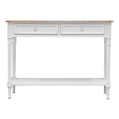Lapalisse Handcrafted Mindi Wood Console Table, White / Weathered Oak