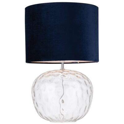 Selena Dimpled Glass Base Table Lamp, Clear