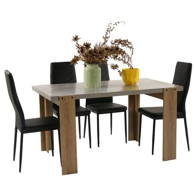 Munich 5 Piece Dining Table Set, 140cm, with Harley Chair