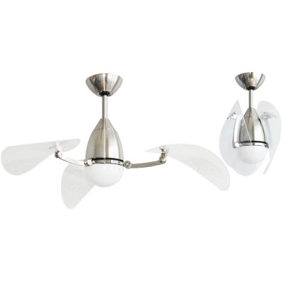 """Martec Vampire DC Ceiling Fan with CCT LED Light & Remote, 107cm/42"""", Brushed Nickel / Clear"""