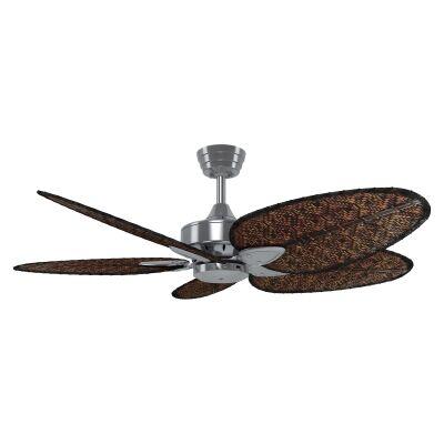 "Fanimation Windpoint Ceiling Fan, 132cm/52"", Brushed Nickel / Bamboo"