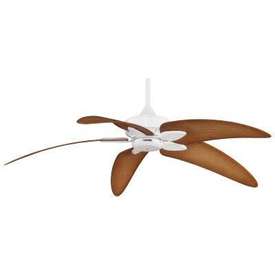 """Fanimation Windpoint Ceiling Fan, 152cm/60"""", Matt White / Light Brown"""