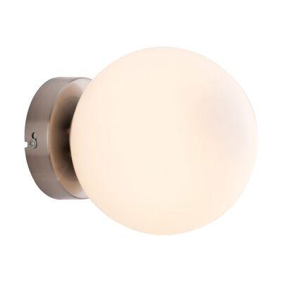 Lana Opal Glass Ball Wall Light, Opal / Satin Nickel