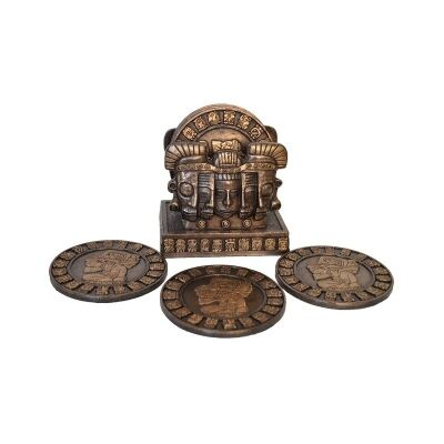 Cast Bronze 6 Piece Mayan Coaster Set