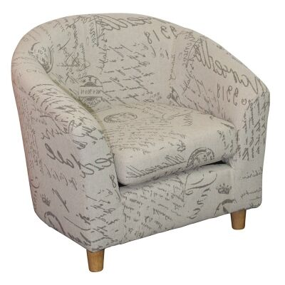 Belen Fabric Kids Tub Armchair, Paris Script- Child's Chair