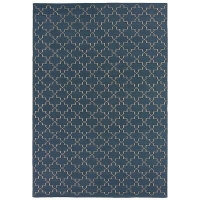 Moroc Hand Woven Wool Rug, 160x230cm, Navy