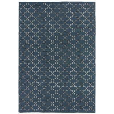 Moroc Hand Woven Wool Rug, 250x350cm, Navy