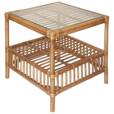 Royston Glass Top Rattan Side Table, Tabacco