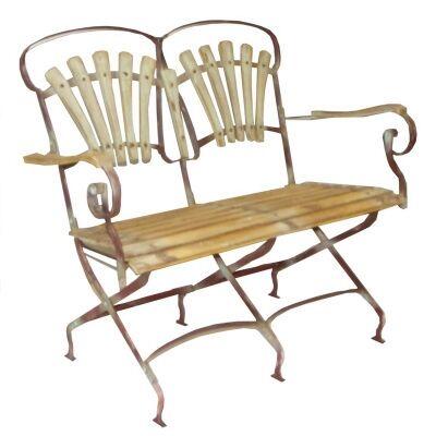 Compton 2 Seater Timber Slatted Metal Garden Folding Bench