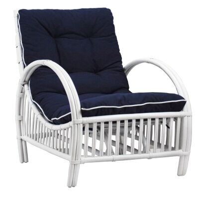 Sanibel Rattan Armchair with Cushion - White/Navy