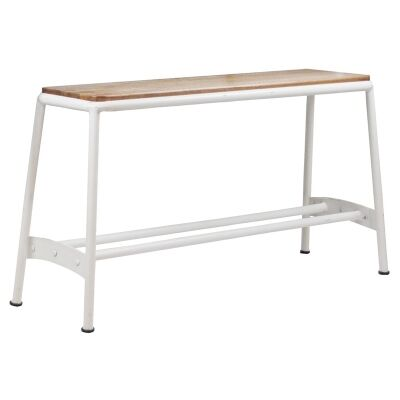 Hunston Metal High Bench with Timber Seat,  White