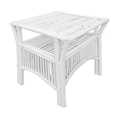 Henderson Glass Top Rattan Side Table, White