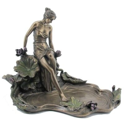 Veronese Cold Cast Bronze Coated Lady Stepping Water Jewellery Tray