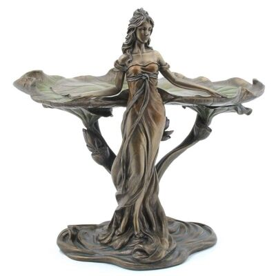 Cast Bronze Lady with Lotus Leaf Jewellery Tray
