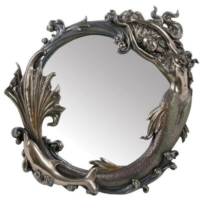 Veronese Cold Cast Bronze Coated Mermaid Round Wall Mirror, 68cm