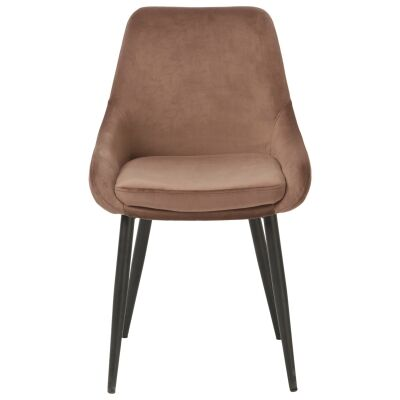 Frobisher Velvet Fabric Dining Chair, Mocha
