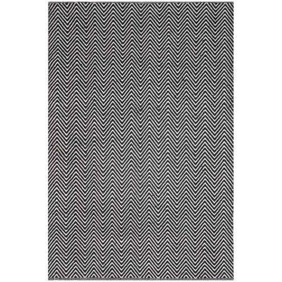 Natura Linzi Hand Woven Cotton Rug, 170x120cm, Chevron Black