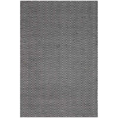 Natura Linzi Hand Woven Cotton Rug, 290x200cm, Chevron Black