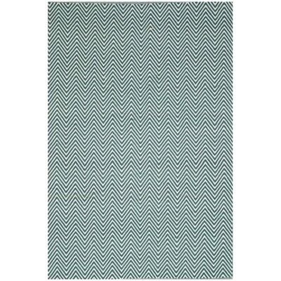 Natura Linzi Hand Woven Cotton Rug, 170x120cm, Chevron Sage