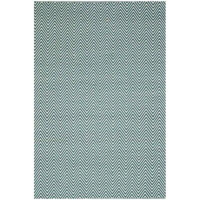 Natura Linzi Hand Woven Cotton Rug, 230x160cm, Chevron Sage