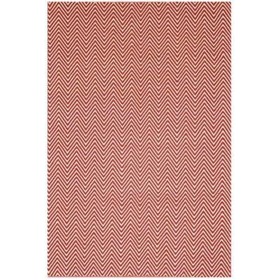 Natura Linzi Hand Woven Cotton Rug, 170x120cm, Chevron Red